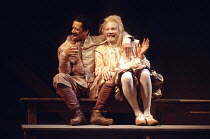 TWELFTH NIGHT   by Shakespeare   set design: John Gunter   costumes: Deirdre Clancy   director: Ian Judge <br>,l-r: Derek Griffiths (Feste), Bille Brown (Sir Andrew Aguecheek),Royal Shakespeare Compan...