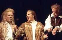 TWELFTH NIGHT   by Shakespeare   set design: John Gunter   costumes: Deirdre Clancy   director: Ian Judge <br>,l-r: Bille Brown (Sir Andrew Aguecheek), Joanna McCallum (Maria), Tony Britton (Sir Toby...