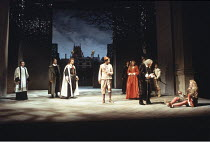 TWELFTH NIGHT   by Shakespeare   set design: John Gunter   costumes: Deirdre Clancy   director: Ian Judge <br>,front l-r from 3rd left: Clive Wood (Orsino), Derek Griffiths (Feste), Haydn Gwynne (Oliv...