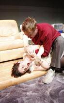 WOYZECK   by Georg Buchner   adapted and directed by Adrian Jackson <br>,Simeon Moore (Woyzeck), Jennifer Kidd (Marie),Cardboard Citizens / Southwark Playhouse, London SE1    29/02/2008       ,