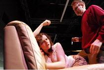 WOYZECK   by Georg Buchner   adapted and directed by Adrian Jackson <br>,Woyzeck kills Marie: Jennifer Kidd (Marie), Simeon Moore (Woyzeck),Cardboard Citizens / Southwark Playhouse, London SE1    29/0...
