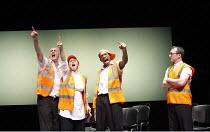 TESTING THE ECHO   by David Edgar   design: Paul Wills   director: Matthew Dunster <br>,Workplace canteen - l-r: Robert Gwilym (Derek), Sirine Saba (Cloe), Syrus Lowe (Joshu), Ian Dunn (Chong),Out of...