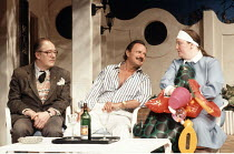 MAN OF THE MOMENT   by Alan Ayckbourn   designer: Roger Glossop   lighting: Mick Hughes   director: Alan Ayckbourn <br>,l-r: Michael Gambon (Douglas Beechey), Peter Bowles (Vic Parks), (???),Globe The...