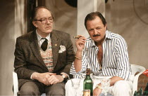 MAN OF THE MOMENT   by Alan Ayckbourn   ,designer: Roger Glossop   lighting: Mick Hughes   director: Alan Ayckbourn <br>,l-r: Michael Gambon (Douglas Beechey), Peter Bowles (Vic Parks),Globe Theatre,...