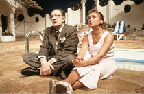 MAN OF THE MOMENT   by Alan Ayckbourn   designer: Roger Glossop   lighting: Mick Hughes   director: Alan Ayckbourn <br>,Michael Gambon (Douglas Beechey), Diane Bull (Trudy),Globe Theatre, London W1...