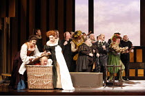 FALSTAFF   by Verdi   after Shakespeare^s ^The Merry Wives of Windsor^   conductor: Carlo Rizzi   ,set design: Lucio Fanti   costumes: Moidele Bickel   director: Peter Stein <br>,front left, l-r: Anne...