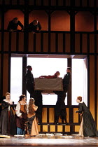 FALSTAFF   by Verdi   after Shakespeare^s ^The Merry Wives of Windsor^   ,conductor: Carlo Rizzi   set design: Lucio Fanti   ,costumes: Moidele Bickel   director: Peter Stein <br>,end Act II - centre,...