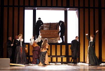 FALSTAFF   by Verdi   after Shakespeare^s ^The Merry Wives of Windsor^   conductor: Carlo Rizzi   ,set design: Lucio Fanti   costumes: Moidele Bickel   director: Peter Stein <br>,end Act II - centre,...