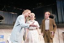 COMIC POTENTIAL   by Alan Ayckbourn   ,set design: Roger Glossop   costumes: Christine Wall   director: Alan Ayckbourn <br>,l-r: David Soul (Chandler Tate), Janie Dee (Jacie Triplethree), Matthew Cott...