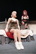 COMIC POTENTIAL   by Alan Ayckbourn   ,set design: Roger Glossop   costumes: Christine Wall   director: Alan Ayckbourn <br>,l-r: Janie Dee (Jacie Triplethree), Helen Pearson (Prostitute),Lyric Theatre...