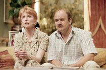 HOUSE   ^House/Garden^   by Alan Ayckbourn   set design: Roger Glossop   costumes: Christine Wall   director: Alan Ayckbourn <br>,Jane Asher (Trish Platt), David Haig (Teddy Platt),Lyttelton Theatre /...