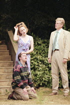 GARDEN   ^House/Garden^   by Alan Ayckbourn   ,set design: Roger Glossop   costumes: Christine Wall   director: Alan Ayckbourn <br>,Sian Thomas (Joanna Mace), James Bradshaw (Jake Mace), Michael Siber...