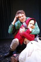 A COUPLE OF POOR, POLISH-SPEAKING ROMANIANS   by Dorota Maslowska   ,design: Miriam Buether   director: Lisa Goldman <br>,Andrew Tiernan (Parcha), Andrea Riseborough (Dzina),Soho Theatre, London W1...