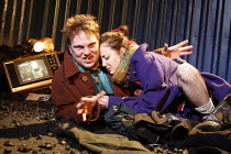 A COUPLE OF POOR, POLISH-SPEAKING ROMANIANS   by Dorota Maslowska   design: Miriam Buether   director: Lisa Goldman <br>,Andrew Tiernan (Parcha), Andrea Riseborough (Dzina),Soho Theatre, London W1...