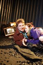 A COUPLE OF POOR, POLISH-SPEAKING ROMANIANS   ,by Dorota Maslowska   design: Miriam Buether   director: Lisa Goldman <br>,Andrew Tiernan (Parcha), Andrea Riseborough (Dzina),Soho Theatre, London W1...