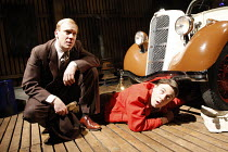 THE MAN WHO HAD ALL THE LUCK   by Arthur Miller   set design: Paul Willis   lighting: Paule Constable   director: Sean Holmes <br>,l-r: Shaun Dingwall (Gus Eberson), Andrew Buchan (David Beeves),Donma...