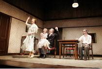 THE BIRTHDAY PARTY  by Harold Pinter  director: Lindsay Posner ~l-r: Eileen Atkins (Meg), Sinead Matthews (Lulu), Henry Goodman (Goldberg), Paul Ritter (Stanley) ~Duchess Theatre, London WC2  25/04/20...