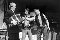 THE CARETAKER   by Harold Pinter   director: Christopher Morahan,l-r: Jeremy Kemp (Aston), John Hurt (Mick), Leonard Rossiter (Davies),Mermaid Theatre, London EC4            02/03/1972,