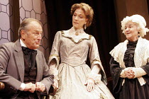 'THE COUNTESS' (Gregory Murphy - director: Ludovica Villar-Hauser),l-r: Gerald Harper (John James Ruskin), Linda Thorson (Lady Elizabeth Eastlake), Jean Boht (Margaret Ruskin),Criterion Theatre, Londo...