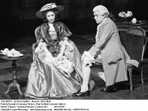 AMADEUS   by Peter Shaffer   design & lighting: John Bury  director: Peter Hall ~ ~Felicity Kendal (Constanze Weber), Paul Scofield (as Antonio Salieri)~Olivier Theatre, National Theatre (NT), London...
