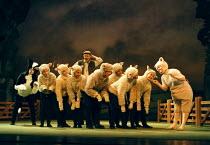 'BABE, THE SHEEP-PIG'~l: Mary-Ann Coburn (Fly), rear: Anthony Pedley (Farmer Hogget), right: Karen Briffett (Babe)~Birmingham Hippodrome  26/11/1997
