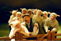 'BABE, THE SHEEP-PIG'~front, l-r: Karen Briffett (Babe), Anthony Pedley (Farmer Hogget), Kirsty Kinnear (Ma)~Birmingham Hippodrome  26/11/1997