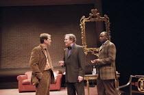 THE COLLECTION   by Harold Pinter   director: Joe Harmeston,l-r: Douglas Hodge (James), Harold Pinter (Harry), Colin McFarlane (Bill),Donmar Warehouse / London WC2      13/05/1998       ,