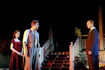 ALL MY SONS   by Arthur Miller   director: Howard Davies <br> ~l-r: Madeleine Potter (Ann Deever), Charles Edwards (George Deever), Ben Daniels (Chris Keller) ~Lyttelton Theatre, National Theatre (NT)...