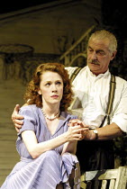 ALL MY SONS   by Arthur Miller   director: Howard Davies <br> ~Madeleine Potter (Ann Deever), James Hazeldine (Joe Keller) ~Lyttelton Theatre, National Theatre (NT), London SE1  07/08/2001 ~(c) Donald...
