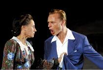 ALL MY SONS   by Arthur Miller   director: Howard Davies <br> ~Laurie Metcalf (Kate Keller), Ben Daniels (Chris Keller) ~Lyttelton Theatre, National Theatre (NT), London SE1  07/08/2001 ~(c) Donald Co...