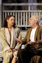 ALL MY SONS   by Arthur Miller   director: Howard Davies <br> ~Laurie Metcalf (Kate Keller), James Hazeldine (Joe Keller),~National Theatre (NT), Lyttelton Theatre, London SE1  07/08/2001 ~(c) Donald...