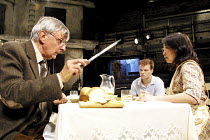 ANDORRA   by Max Frisch   adapted by Michael Bullock   design: Francis O'Connor   lighting: Paule Constable   director: Gregory Thompson <br>,l-r: Jack Shepherd (The Teacher), Alec Newman (Andri), Hel...