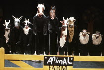 'ANIMAL FARM' (George Orwell/adapted by Peter Hall),4th left: Boxer (Geoffrey Burridge), 5th left: Clover (Dinah Stabb),National Theatre/Cottesloe Theatre  London  25/04/1984,