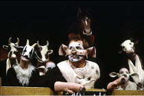 'ANIMAL FARM' (George Orwell/adapted by Peter Hall),centre: Barrie Rutter (Napoleon),Cottesloe Theatre /National Theatre   London  25/04/1984,