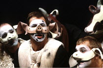 'ANIMAL FARM' (George Orwell/adapted by Peter Hall),2nd left: Barrie Rutter (Napoleon),Cottesloe Theatre /National Theatre   London  25/04/1984,