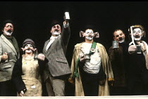 'ANIMAL FARM' (George Orwell/adapted by Peter Hall),3rd from left: Mr Jones   4th: Naploeon (Barrie Rutter)   right: Squealer (David Ryall),Olivier Theatre /National Theatre   London  09/1984,