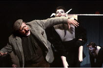 'ANIMAL FARM' (George Orwell/adapted by Peter Hall),Snowball (Greg Hicks) attacks Mr Jones,Olivier Theatre /National Theatre   London  09/1984,