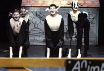 'ANIMAL FARM' (George Orwell/adapted by Peter Hall),l-r: Naploeon (Barrie Rutter), Squealer (David Ryall), Snowball (Greg Hicks),   ??,Cottesloe Theatre /National Theatre   London  25/04/1984,