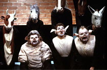 'ANIMAL FARM' (George Orwell/adapted by Peter Hall),front, l-r: Old Major (Kenny Ireland), Snowball (Greg Hicks), Squealer (David Ryall),Cottesloe Theatre /National Theatre   London  25/04/1984,