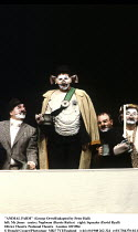 'ANIMAL FARM' (George Orwell/adapted by Peter Hall),left: Mr Jones   centre: Naploeon (Barrie Rutter)   right: Squealer (David Ryall),Olivier Theatre /National Theatre   London  09/1984,