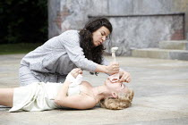 THE TAMING OF THE SHREW   by Shakespeare   director: Rachel Kavanaugh <br>,II/i - (kneeling) Sirine Saba (Katherina), (lying down) Sheridan Smith (Bianca)   ,Open Air Theatre / Regent's Park, London N...
