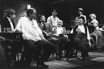THE ICEMAN COMETH   by Eugene O^Neill   design: Hayden Griffin   lighting: Andy Phillips   director: Bill Bryden ,front, l-r, from 2nd left: Frederick Treves (Cecil Lewis / The Captain), Jack Shepherd...