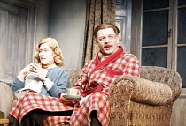THE YEAR OF THE RAT   by Roy Smiles   design: Michael Pavelka   director: Alan Strachan <br> ,ailing Orwell: Claudia Elmhirst (Sonia Brownell), Hugo Speer (George Orwell),Courtyard Theatre / West York...