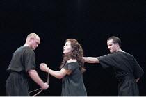 ANTIGONE   written & directed by Declan Donnellan   after Sophocles   design: Nick Ormerod <br>,l-r: Marshall Griffin (Attendant), Tara Fitzgerald (Antigone), Scott Frazer (Attendant)   ,The Old Vic,...