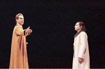 ANTIGONE   written & directed by Declan Donnellan   after Sophocles   design: Nick Ormerod <br>,l-r: Jonathan Hyde (Creon), Zubin Varla (Haemon),The Old Vic, London SE1         11/10/1999   ,