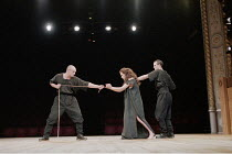 ANTIGONE   written & directed by Declan Donnellan   after Sophocles <br>,l-r: Marshall Griffin (Attendant), Tara Fitzgerald (Antigone), Scott Frazer (Attendant)   ,The Old Vic, London SE1         11/1...