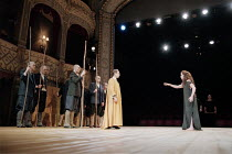 ANTIGONE   written & directed by Declan Donnellan   after Sophocles   design: Nick Ormerod <br>,centre: Jonathan Hyde (Creon)   right: Tara Fitzgerald (Antigone),The Old Vic, London SE1         11/10/...