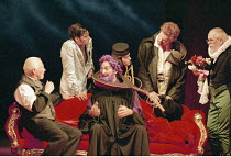THE TAMING OF THE SHREW   by Shakespeare   set design: Russell Craig   costume design: Marie-Jeanne Lecca   director: Gale Edwards ,Act II - l-r: Clifford Rose (Baptista Minola), Mark Lockyer (Tranio)...