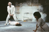 HIPPOLYTUS   by David Rudkin   after Euripides   design: Ralph Koltai   director: Ron Daniels <br>,left: Patrick Stewart (Theseus), Natasha Parry (Phaedra)   right: Diana Berriman (Young Woman),Royal...