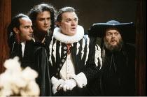 THE ALCHEMIST   by Ben Jonson   design: Anthony Ward   director: Sam Mendes <br>   ,l-r: Barry Lynch (Surly), Richard Bonneville (Kastril), Philip Voss (Sir Epicure), Bill Wallis (Tribulation),Royal S...